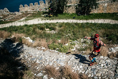 Down the hill (Melissa Maples) Tags: alanya turkey türkiye asia 土耳其 nikon d3300 ニコン 尼康 nikkor afs 18200mm f3556g 18200mmf3556g vr spring alanyaultramarathon race roman ancient ruins hill alanyacastle castle mediterranean sea water athlete runner man
