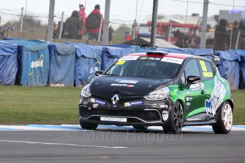 Lucas Orrock in Clio Cup qualifying during the BTCC Weekend at Donington Park 2017