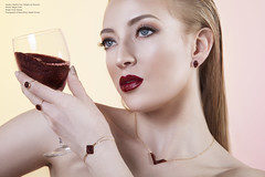 Bashful Owl- wine (Katelin Kinney) Tags: fashion accessories surreal jewelry crystal druzy quartz sparkly glitter feminine prettybeautiful beauty commercial advertising wine classy luxury blond red lip necklace bracelet earrings ring photoshop retouching photography