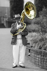 Now that's what I call a trumpet! (David Feuerhelm) Tags: nikkor outdoors musician brass man person hat blazer england wisley sousaphone nikon d7100