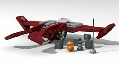JG-01 Skimmer (David Roberts 01341) Tags: lego ldd povray photoshop space spaceship droid minfigure darkred scifi