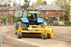 The tractor at work (Barry Miller _ Bazz) Tags: landscaping tractor working soil blec rake victoria park widnes cheshire england canon 5d mark3 70200mm f28l l lens seeding
