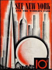 1939 New York World's Fair guidebook.  On the cover are the Fair's theme buildings, the Trylon and Perisphere, set against the New York City skyline. (lhboudreau) Tags: brochure guidebook book pamphlet softcover fair worldsfair newyorkworldsfair exhibition 1939 1939worldsfair 1939newyorkworldsfair internationalexhibition newyork people skyline artdeco trylon perisphere newyorkcity johnwarekelsey illustration coverart art artwork bookart bookcoverart architecture cityscape giftbook souvenir souvenirbook seenewyork seenewyorkandtheworldsfair 10cents tencents