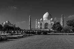 Black & White Taj Mahal (Mijan Rashid) Tags: india asia asian blackwhite black water sky grass garden agra delhi minaret mosque canon canon1100d canon1100 1100d 18270mm tamron tamron18270mm travel photography monument mausoleum tree trees streetphotography travelphotography emperor mughal mumtazmahal jamuna shahjahan bharat clouds