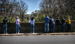 Then there were eight (builder24car) Tags: railfans candid waiting anticipation bridge lynchburgvirginia