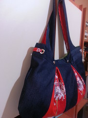 denim bag spring (ykiymet) Tags: bag çanta handmade handmadebag canta handbag fabric sew indoor pattern bahar spring red denim