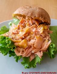 Pulled Lachs Burger (Stefan's Gartenbahn) Tags: essen food pulledlachsburger pulled lachs burger salat torte ostertorte grill napoleon lex 485 lex485