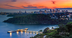 Night Falls Over Sydney Harbour - Panoramic (Simon Pratley) Tags: 100mm 5dmkiii atardecer australia blue bluehour canon city cityscape clouds coast costa dusk elrío evening ferrywharf golden landscape leefilters leegraduatedfiter longexposure night nightscape nubes orange outdoor panorama panoramic river seascape simonpratleyphotography sky skyline sunset sydney sydneyharbour unrío urbanscape water watercourse wharf elmar lacosta