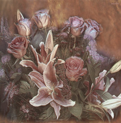 ..my impression of Durer.. (xandram) Tags: flowers lily roses texturesmyown photoshop durer