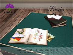 Thistle Books (Liz Gealach) Tags: thistle homes thistlehomes fameshed second life sl secondlife liz gealach ottoman hayes chair books decor deco furniture