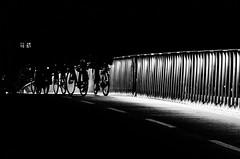 Stripes through the Night (Thomas Listl) Tags: thomaslistl blackandwhite noiretblanc biancoenegro night stripes light bikes street urban bridge copenhagen denmark