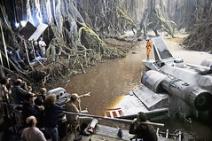 Filming the submerged X-Wing (Tom Simpson) Tags: starwars theempirestrikesback empirestrikesback behindthescenes film movie vintage markhamill lukeskywalker dagobah set irvinkershner xwing swamp