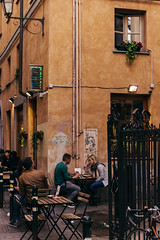 DSC_338 (Mjooolka) Tags: turin travel locals people restaurant bar pub piedmont italia italy piemonte torino lamps couple love amour relations girl boy man table café streets square blackboard chulk mode fashion evening afternoon building architecture