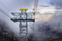 Flying Above the Clouds (Rice Bear) Tags: aerialtram mtsanjacinto palmsprings aerial fog gondola mountain tram valley view