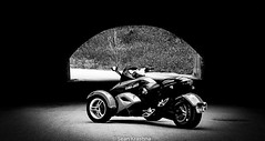 Can-Am Spyder ('09 Spyder) Tags: bridge blackandwhite bw black canon photography eos rebel flickr overpass tunnel spyder motorcycle trike sportbike t3 vignetting roadster canam