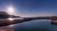 tournée vers le monde (Cilou101) Tags: sunset sea sky mer france port marseille mediterranean clear ciel flare provence hdr sunflare méditerranée palaisdupharo hdr1raw mp2013 cilou101