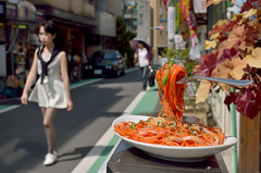 Here's spaghtti for you! (1800mlph) Tags: street food sign person restaurant things