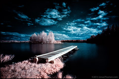 Nybryggan-IR (Jonas Thomn) Tags: lake water grass clouds ir island jetty infrared vatten brygga sj falsecolor moln  grs infrard infrartt