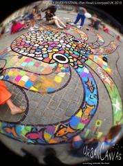 Mersey River Festival (UrbanCanvas) Tags: uk urban art public festival museum liverpool river giant children pier chalk artist head drawing pavement arts picture culture canvas sidewalk event workshop artists octopus mermaid chalking mersey anamorphic merseyside participation 2013 urbancanvas octofish