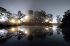 South Pond (peteskiphoto) Tags: trees lake chicago water fog night reflections lincolnpark chicagoist southpond