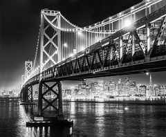 San Francisco Skyline B&W (Arob1000) Tags: california bridge bw white black landscape island lights golden bay gate san long exposure treasure nightscape area francico bestcapturesaoi