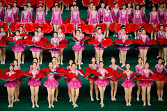 Pink and red (Lil [Kristen Elsby]) Tags: travel pink red topf25 topv2222 asia dancers performance dancer korea multiples editorial performers northkorea pyongyang eastasia dprk travelphotography arirang democraticpeoplesrepublicofkorea massgames chosŏnminjujuŭiinminkonghwaguk dprofkorea canon5dmarkii arirangmassgames