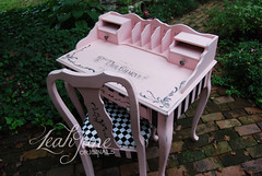 Hand Painted Desk Dressing Vanity Ballet Princess Pink and Black (LeahJane Originals) Tags: pink black beauty shop hair bedroom desk girly laptop stripe makeup reception boutique workspace chic dresser parlor striped glamorous handpaintedfurniture pinkfurniture handpaintedfuniture
