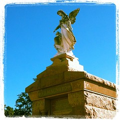 BEAUTIFUL day!  Weeping Angel anyone?!?  #sunny #weepingangel #cemetarytour #angel #beautiful #stlouiscemetary #NewOrleans #nola (barbgirl1999) Tags: square squareformat lordkelvin iphoneography instagramapp uploaded:by=instagram
