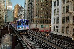 Holiday Train in the Loop (Explore) (player_pleasure) Tags: christmas cta el ltrain chicagotransitauthority vision:car=0613