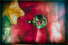 Hang On Little Christmas Ball, Hang On (hbmike2000) Tags: christmas old red green texture glass vintage paper star nikon decoration scratches christmastree retro lightleak worn wetplate christmasdecoration christmasornament d200 scratched hdr textured papermache decorated treetop odc niksoftware hbmike2000 analogefex flickr12days