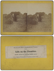 Smoke house for smoking Buffalo meat. (SMU Central University Libraries) Tags: southwest men texas hunting meat bison buffalos buffaloes uswest buffalohunting smokehouses stereoviews pioneerlife frontierlife curingpreservation oliphantwilliamjwilliamjames18451930