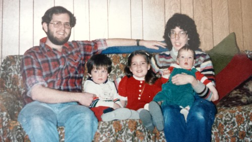 Brian Copeland, children Jonathan, Kelli, and Caleb, and wife Roxanne (Joy) Copeland, Christmas 1985.