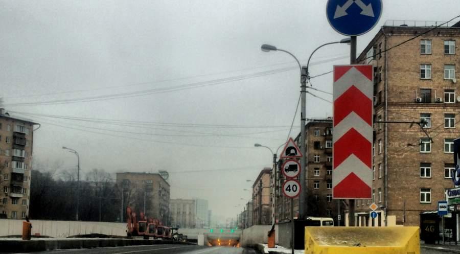 Единственный на сегодняшний день въезд в Алабяно-Балтийский тоннель