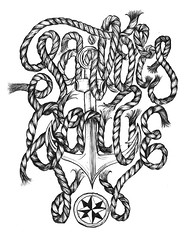 Sailor's Grave (Galen Zhelyazkov) Tags: letters navy rope anchor font freehand lettering sailor compass nautrical