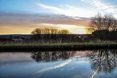 DSC_0002 - Daybreak (SWJuk) Tags: uk winter england sunlight home clouds sunrise reflections canal nikon naturallight bluesky lancashire towpath daybreak burnley 2014 leedsliverpoolcanal d90 nikond90 swjuk jan2014