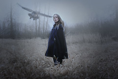 Foggy Journey (wild_empress) Tags: blue winter canada bird classic nature field fog composite fairytale dark photography colorful experimental unique bare creative goddess longhair foggy surreal windy fantasy journey portraiture ethereal albumcover cloak bookcover colourful cdcover emotional conceptual spiritual storybook legend magical selfportraiture timeless fable whimsical myths storytelling magazinecover newage mythical diamondintherough upandcoming imageusage wildempress