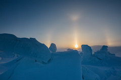 Atmospheric (Clare Kines Photography) Tags: adamssound arctic arcticbay canada nunavut scenic dog dogteam ice north parhelia sundog winter snow landscape sky fog light cold weather nature l