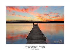 Sunset over St Georges Basin with timber jetty (sugarbellaleah) Tags: sunset reflection lake jetty timber peaceful wellness stillness calm chill relaxation leisure water stgeorgesbasin australia southcoastaustralia estuary vacation fishing swimming clouds scenery travel tourism lingalongajetty shoalhaven place sky colours vivid spectacular awe wonderful serenity lifestyle wood rustic