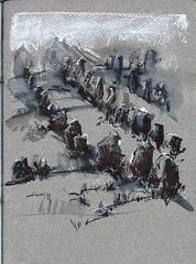 carnac (un pinceau à l'ouest) Tags: menhir gris black white stone megalithes croquis dessin ink pleinair chalk craie bretagne