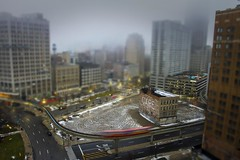 Care shift (Notkalvin) Tags: care kidrock abandoned detroit building tiltshift dpm detroitpeoplemover notkalvin winter outdoor mikekline notkalvinphotography fromarooftop lookingdowncity cityscape skyline fog mist morning explore explored flickrexplore thankyou