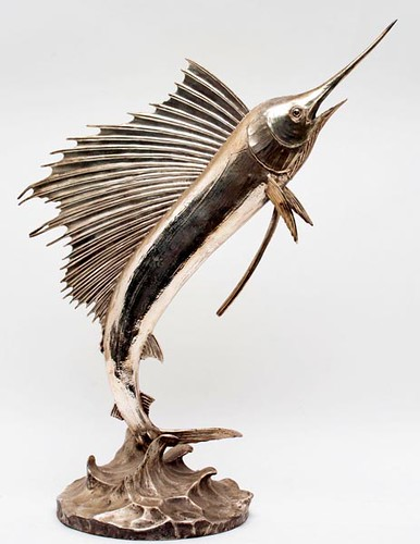 Important Sterling Swordfish Sculpture by American Designer/Artist Chris E. Olsen (1880-1965)worked for the American Museum of Natural History (89 troy oz. including base) - $1,904.00