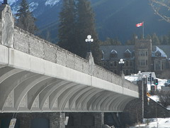 Banff Park Parkway (Mr. Happy Face - Peace :)) Tags: yyc banff nationalpark snowcaps art2017 flickrfriends nature rockies canada150 cans2s alberrtabound bridge chief indian flag historic