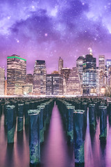 Pillars of Yesterday (Aleks Ivic) Tags: nyc new york city downtownmanhattan downtown pillars brooklynbridgepark woodpylons night longexposure nightsky cityscape skyline