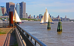 Sail Boat Race as seen from Liberty Park in Jersey City, NJ (4 of 6) (gg1electrice60) Tags: jerseycity newjersey nj libertystatepark libertypark historicplace newyorkharbor audreyzappdrive freedomway saltwater unitedstates us usa america welcomeimmigrants outdoor vessel boat ship sailboat brooklynskyline manhattenskyline newyork newyorkcity newyorkstate nyc sailingvessel sloop spinakar sails mainsail mast rigging people sailers pilings pavers