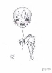 Elevated (Klaas van den Burg) Tags: woman drawing sketch pencil portrait people blackandwhite monochrome surreal cartoon illustration whitebackground sketching sketches creative creation concept conceptual absurdism