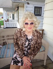 Even Us Old Ladies Like To Glam It Up Now And Then (Laurette Victoria) Tags: sunglasses woman blonde laurette jacket earrings