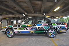 BMW Art Car Collection (Malc Edwards) Tags: london malc ec2 greateasternstreet curtainroad carpark bmw artcarcollection 525i 1991 esthermahlangu artist car vehicle