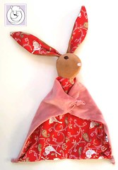 Bunny Blanket Red with Birds (Polar Bear Creations Dolls) Tags: blanket blanky cozy babytoy toddlertoy babyshower waldorf waldorfinspired natural naturaltoy schmuse