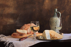 Bread, Wine & Cheese: Life Is Great (panga_ua) Tags: lifeisgreat bread winecheese breadwinecheese cheese ceramicbottle glassofwine embroidery napkin kitchenboard woodentabletop paintedbackground imagination spectacular poetic creation artwork art artistic arrangement composition stilllife bodegon naturamorta naturemorte tabletop sharpfocus availablelight canon artphotography artisticphotography presentation nataliepanga ukraine rivne natalie panga натальяпанга
