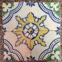 Azulejos (cyclingshepherd) Tags: 2017 april europa europe portugal algarve olhao olhão tile tiling tiles azulejo azulejos grémio rescued largo ruin old chipped glazed glaze blue yellow green cyclingshepherd demolition ipad